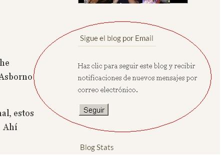 """Botón """"Seguir"""" el blog por mail"""